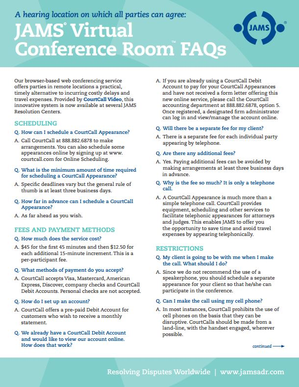 Click here to download JAMS Virtual Conference Room FAQ's PDF