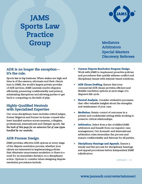JAMS Sports Practice brochure